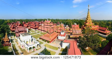 Panorama of Royal Palace in Mandalay, Myanmar (Burma)