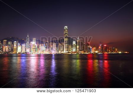 Hong Kong at night. Victoria Harbour and Hong Kong Central.