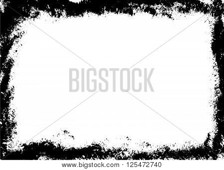 Grunge brush frame border on white background