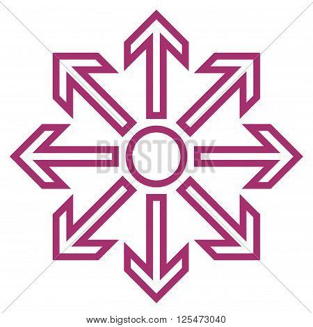 Maximize Arrows vector icon. Style is thin line icon symbol, purple color, white background.