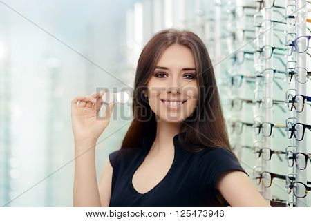 Woman with Contact Lenses Case in Optical Store