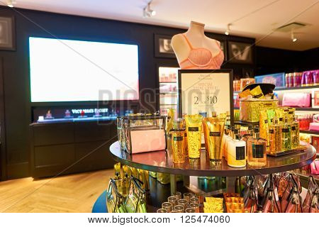 NEW-YORK - MARCH 15, 2016: interior of Victoria's Secret store. Victoria's Secret is the largest American retailer of women's lingerie. The company sells lingerie, womenswear, and beauty products