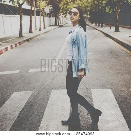 Woman Sightseeing Walking Crosswalk Lifestyle Concept