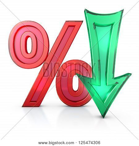 transparent percentages and arrow on a white background 3d render