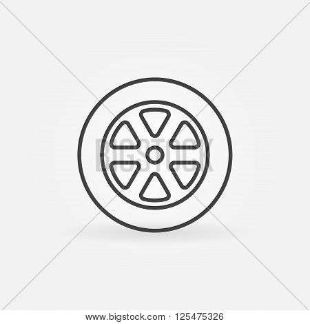 Car wheel line icon - vector simple wheel symbol or logo element in thin line style. Tyre sign