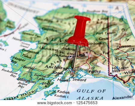 Map with pin point of Anchorage in Alaska, USA