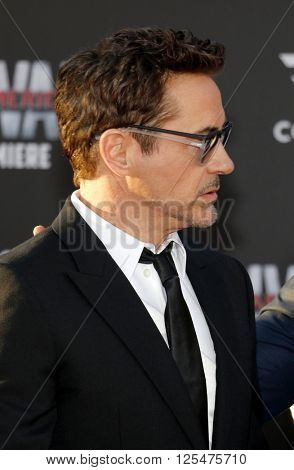 Robert Downey Jr. at the World premiere of 'Captain America: Civil War' held at the Dolby Theatre in Hollywood, USA on April 12, 2016.