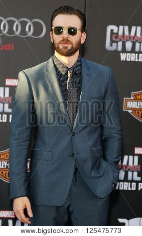 Chris Evans at the World premiere of 'Captain America: Civil War' held at the Dolby Theatre in Hollywood, USA on April 12, 2016.