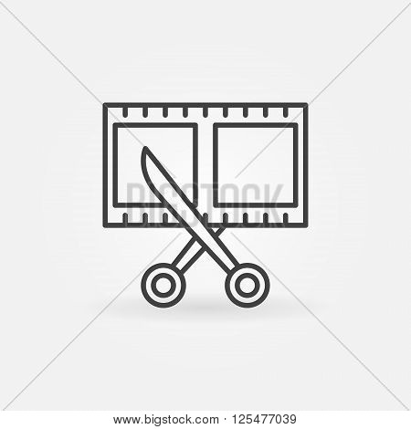 Film strip with scissors icon - vector simple linear scissors cutting film shot sign. Video editting symbol