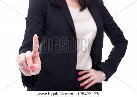 Business Woman Touching Imaginary Screen Or Pressing Button With Her Finger Isolated On White