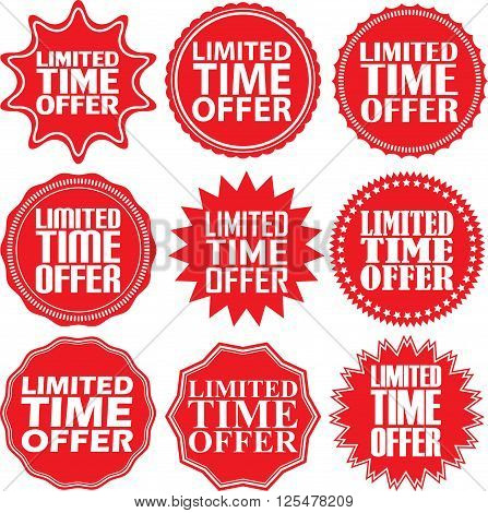 Limited Time Offer Red Label. Limited Time Offer Red Sign. Limited Time Offer Red Banner. Vector Ill