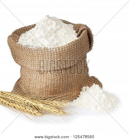flour in bag with wheat ears isolated on white background. Full sack of flour