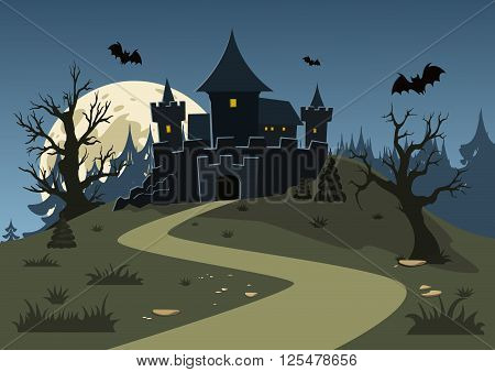 Halloween haunted castle trees bats and a full moon. Vector illustration