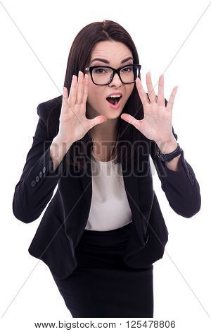 Portrait Of Stressed Young Business Woman Screaming Isolated On White