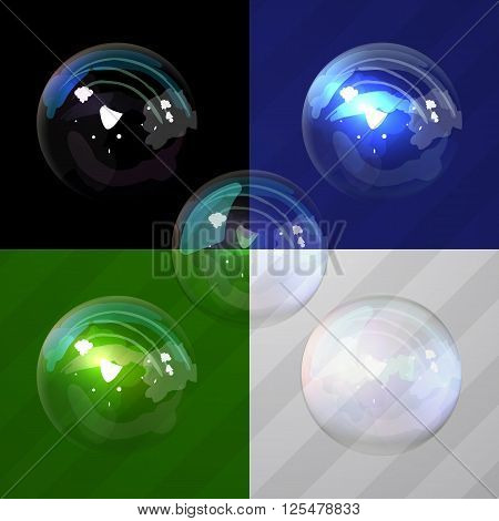 Set universal colorful bubble in vector. Soap bubbles with transparency designed for any color backgrounds. Isolated Soap Water bubbles collection