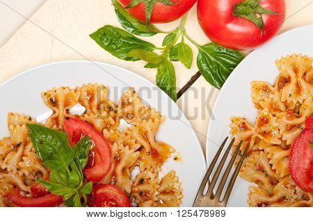 Italian Pasta Farfalle Butterfly Bow-tie And Tomato Sauce