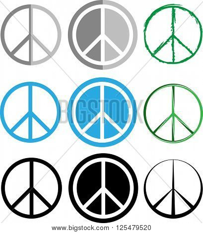 Peace Icon Set Vector Illustration