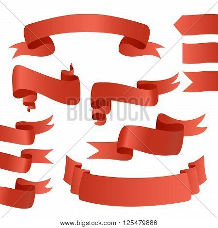Big Red Ribbons Set, Isolated On White Background, Vector Illustration. Red Ribbons For Cards. Red R