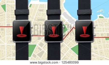 modern technology, navigation, location, object and media concept - close up of black smart watch with gps navigator map