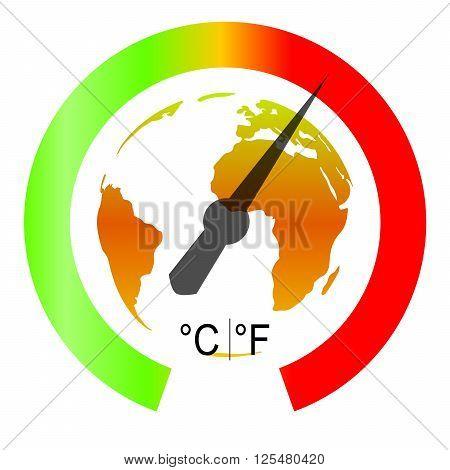 Global Warming Symbol On White Background. Vector Illustration