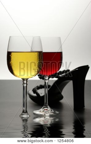 Red And White Wine With Shoe