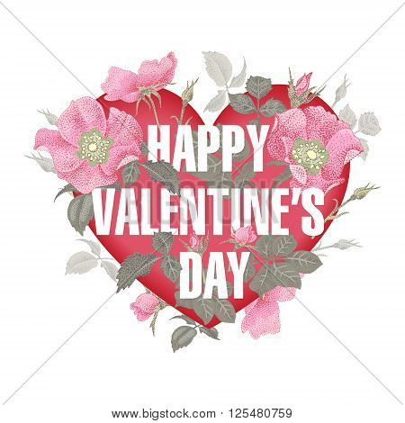 Valentine heart. Vector design Valentine's Day. Template of flowers in a heart-shaped Valentine's Day. Series lettering Happy Valentine's Day.