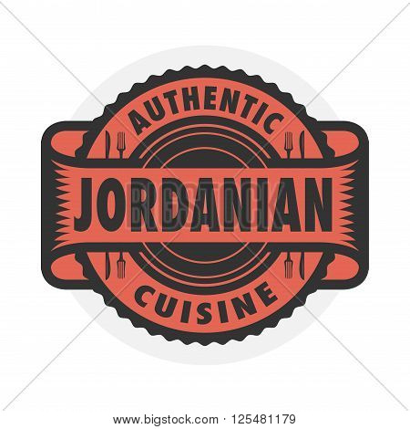 Abstract stamp or emblem with the text Authentic Jordanian Cuisine written inside, vector illustration