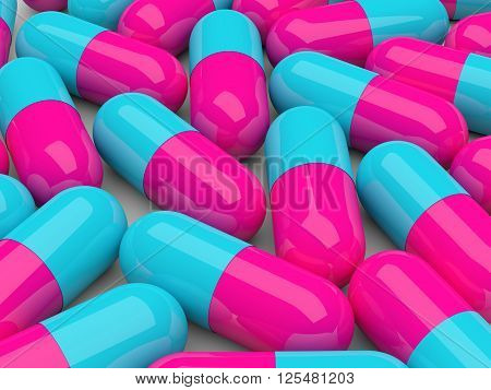 Pills With Reflection Isolated Over White