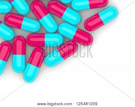Pills Lying On Table With Place For Text