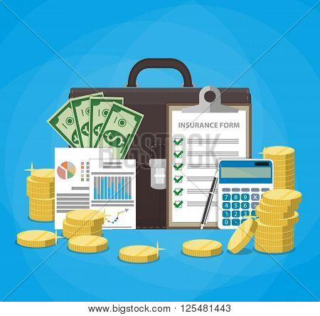 Leather briefcase, money cash, financial reports, insurance contract claim form, calculator, pen, stacks of gold coins. Business insurance concept. vector illustration in flat design