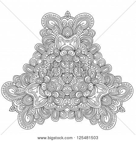 Black and white abstract pattern with leaves and flowers. Doodle ...