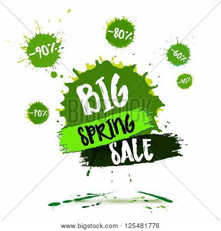 Spring Sale Badge, Spring Sale Label, Spring Sale Banner. Vector Watercolor Banner With Ink Splashes