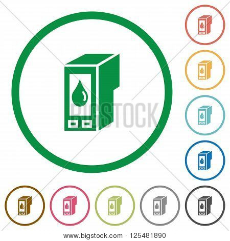 Set of Ink cartridge color round outlined flat icons on white background