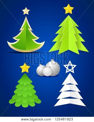 Christmas elements, Christmas trees, Christmas balls on blue background. Vector illustration