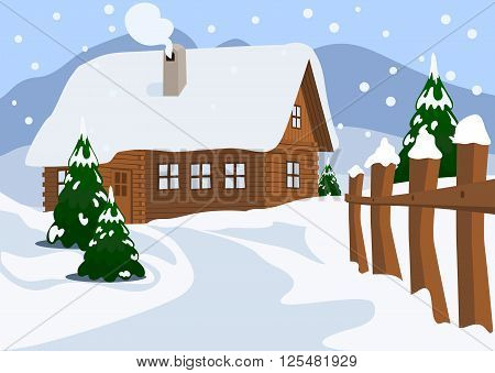 Idyllic Winter landscape. Chalet in Winter. Vector Illustration