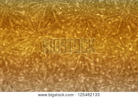 Classic Vintage Abstract Millennium Gold Flower  Or Firework With Bokeh For Luxury Glitter Backgroun