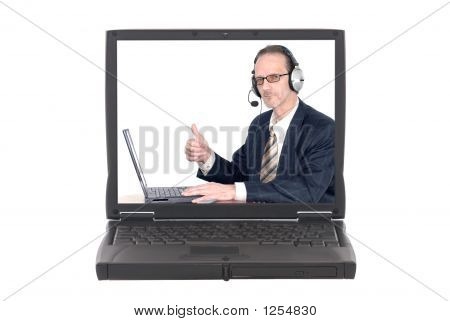 Businessman Making Internet Conference Call