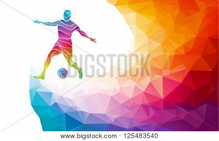 Creative soccer player. Football player kicks the ball, colorful vector illustration with background or banner template in trendy abstract colorful polygon style and rainbow back