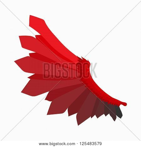Red wing of devil icon in cartoon style isolated on white background