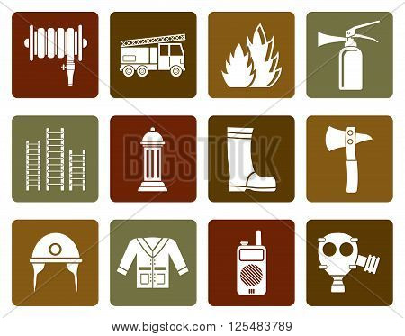 Flat fire brigade and fireman equipment icon - vector icon set