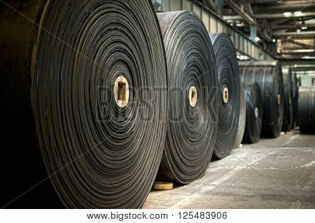 Industry background  - big rubbery material rolls