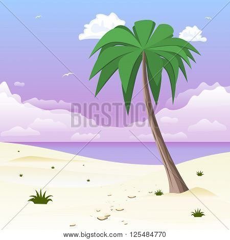 Island with palm tree on tropical white sand. Vector illustration