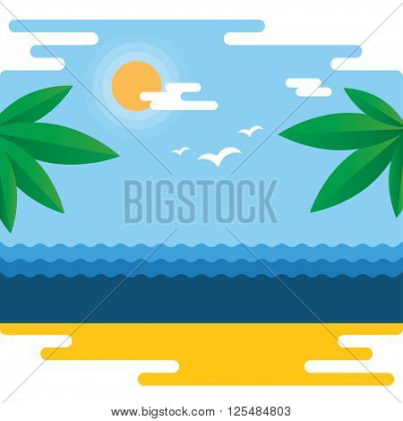 Summer time at the beach with palm leaves