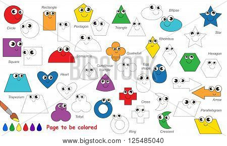 Set of funny geometrical shapes in vector to be traced. Trace game for children. Restore dashed line and color the picture. Primary geometry for kids.