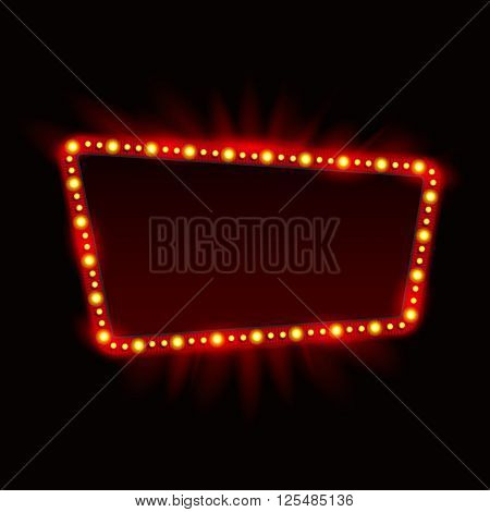 Retro Showtime Sign Design. Neon Lamps billboard on dark background. American advertisement vector illustration. Cinema and theater Signage Light Bulbs Frame. 1950s Sign Design Retro Signage Sale.