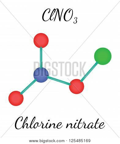 ClNO3 chlorine nitrate 3d molecule isolated on white