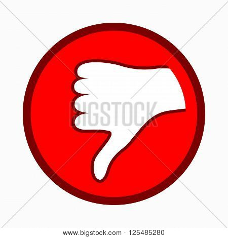 Thumb down icon in simple style on a white background