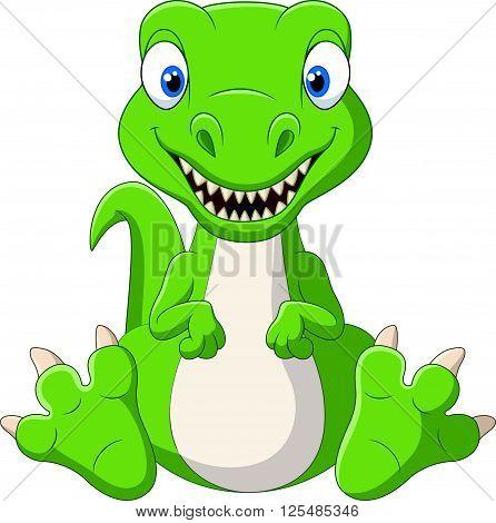 Vector illustration of Cute baby dinosaur cartoon
