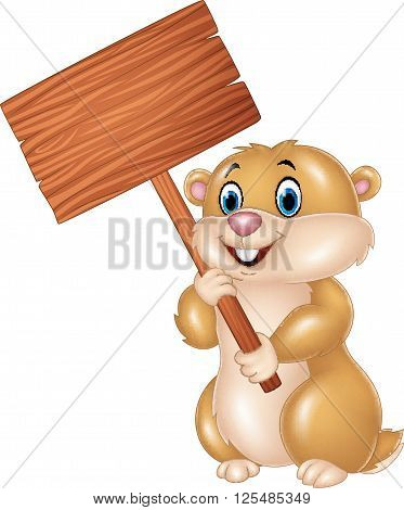 Vector illustration of Cute Groundhog holding blank sign