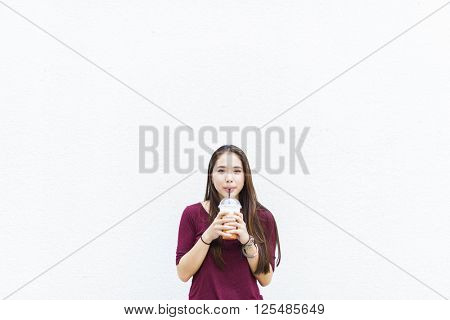 Drinking Fresh Beverage Relaxation Tea Straw Concept